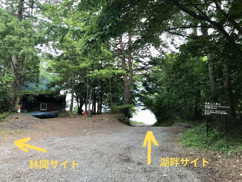 左手林間サイトとまっすぐ湖畔サイト